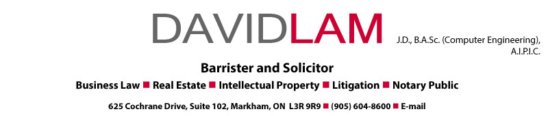 David Lam, Barrister and Solicitor - Business Lawyer, Real Estate Lawyer, Intellectual Property Lawyer, Litigation, Computer Engineer